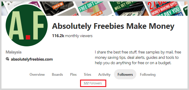 Absolutely Freebies Pinterest followers