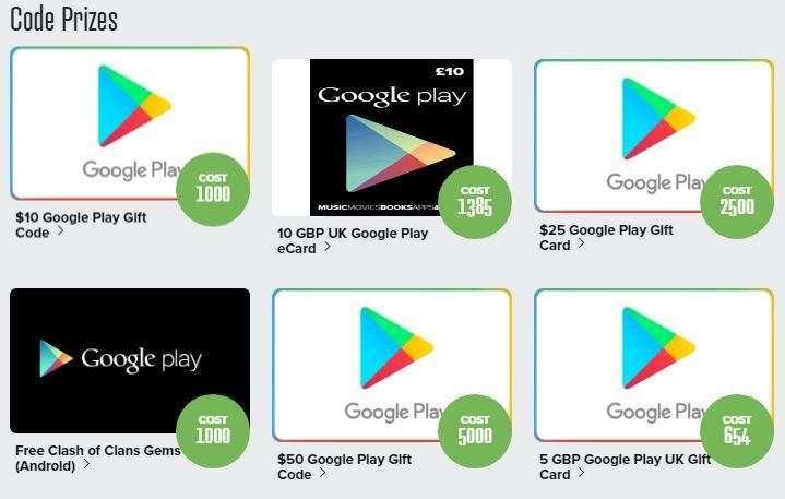 Prize rebel Google Play Gift Code