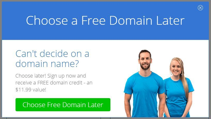Choose a free domain later