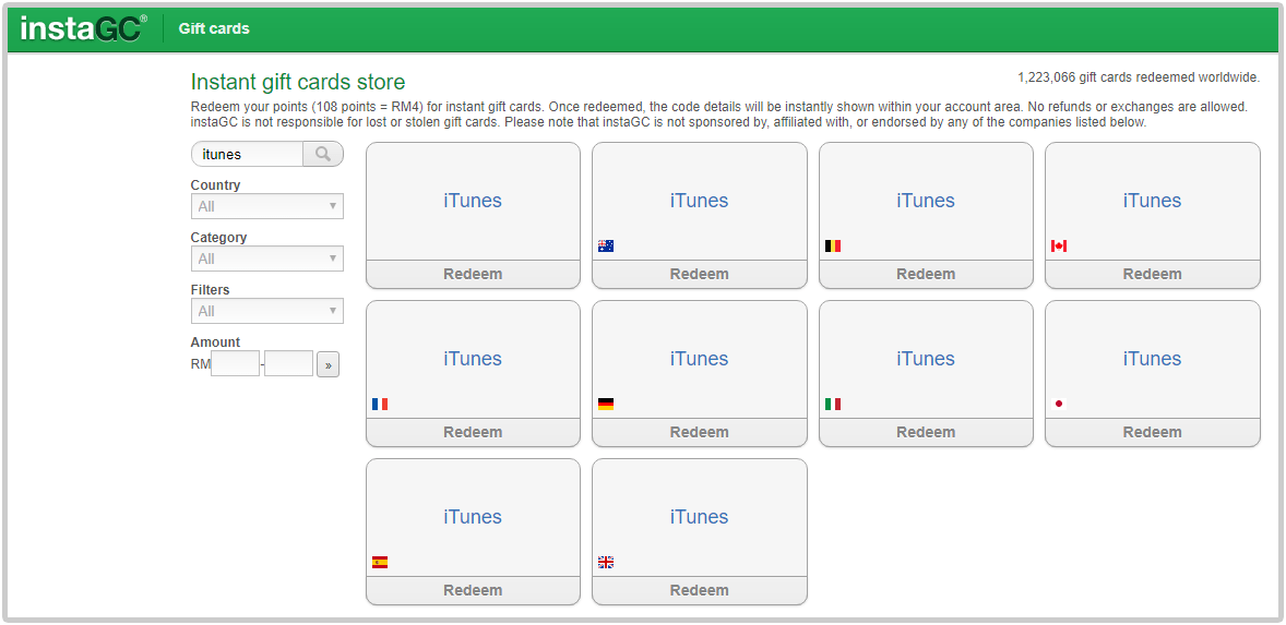 International iTunes gift cards