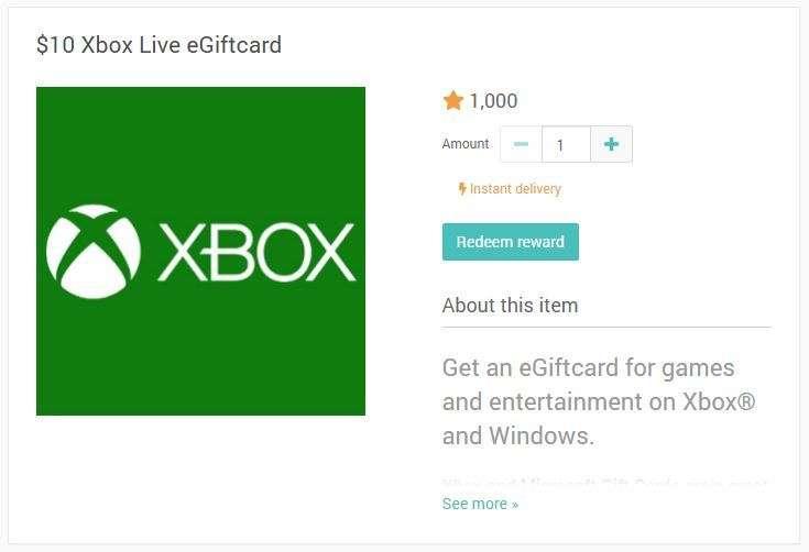 10 dollars Xbox gift card