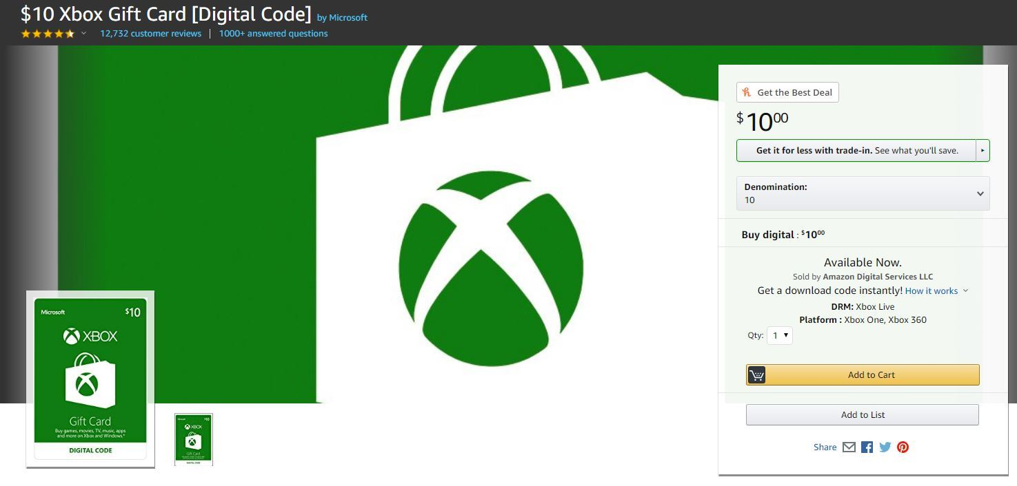 Buy Xbox digital code from Amazon