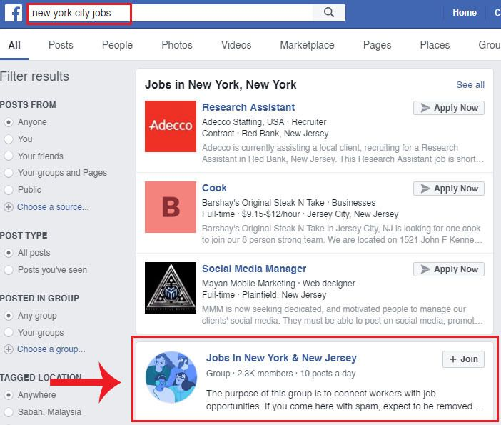 Finding under the table jobs in Facebook